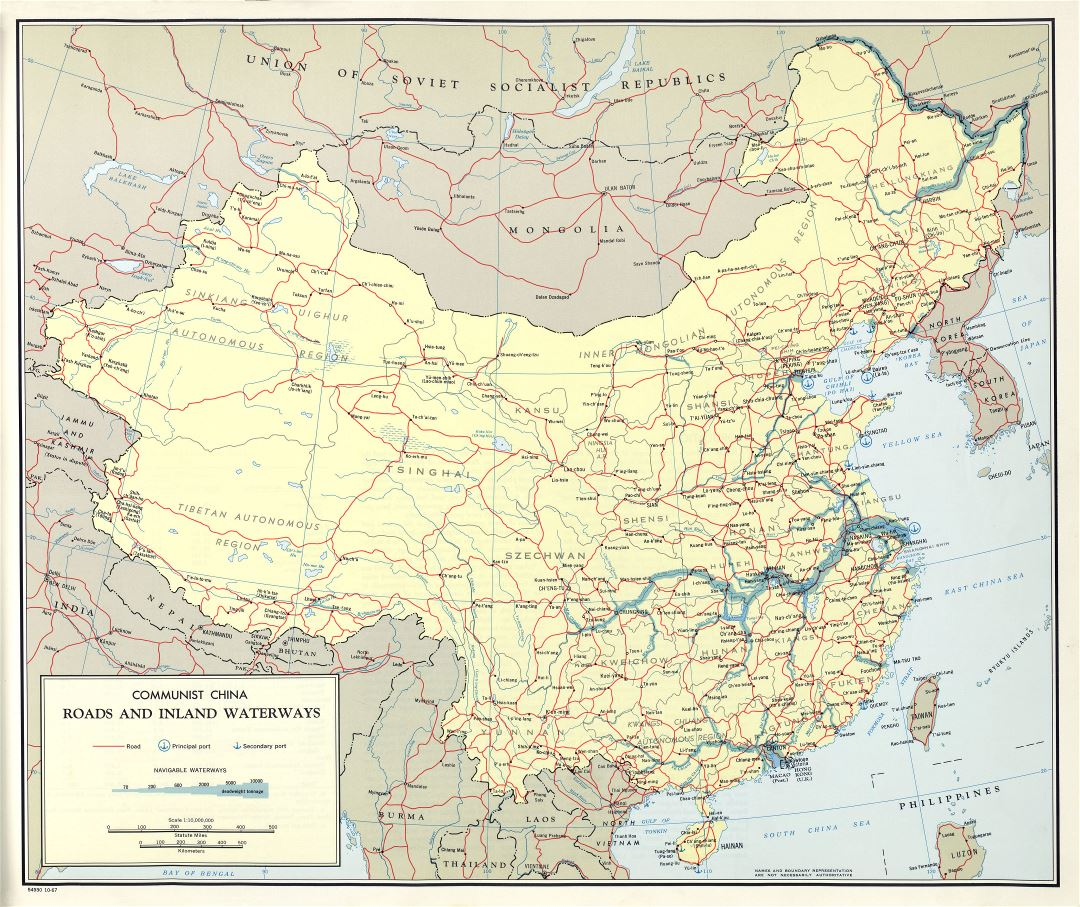 Large scale detailed roads and inland waterways map of Communist China - 1967