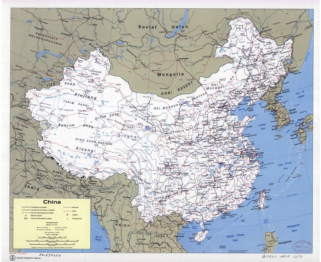 Large scale political and administrative map of China with roads, railroads, cities, airports and seaports - 1979