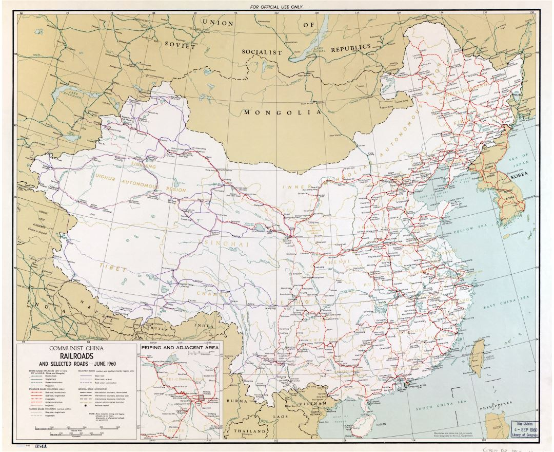 Large scale railroads map of Communist China - 1960