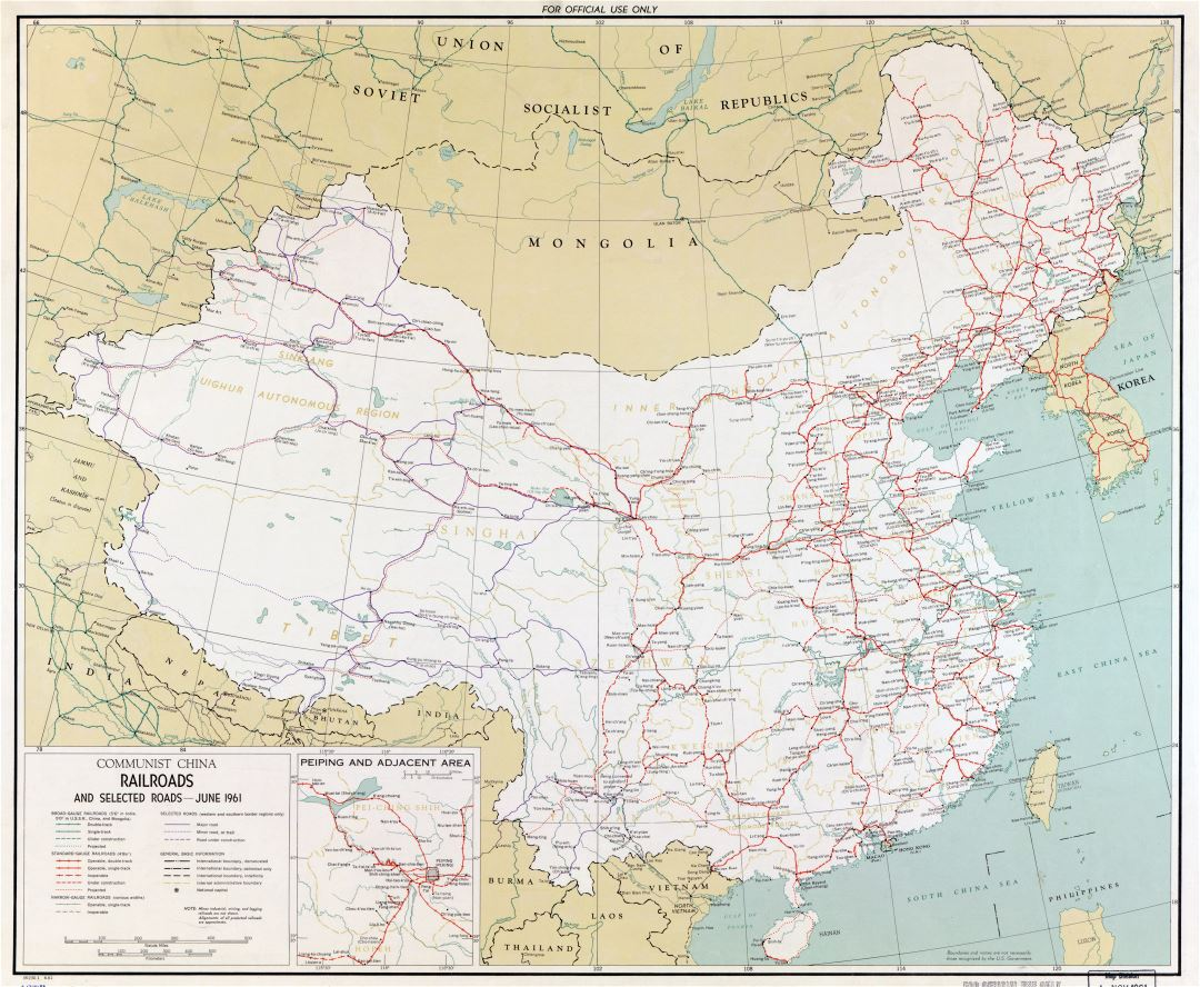 Large scale railroads map of Communist China - 1961