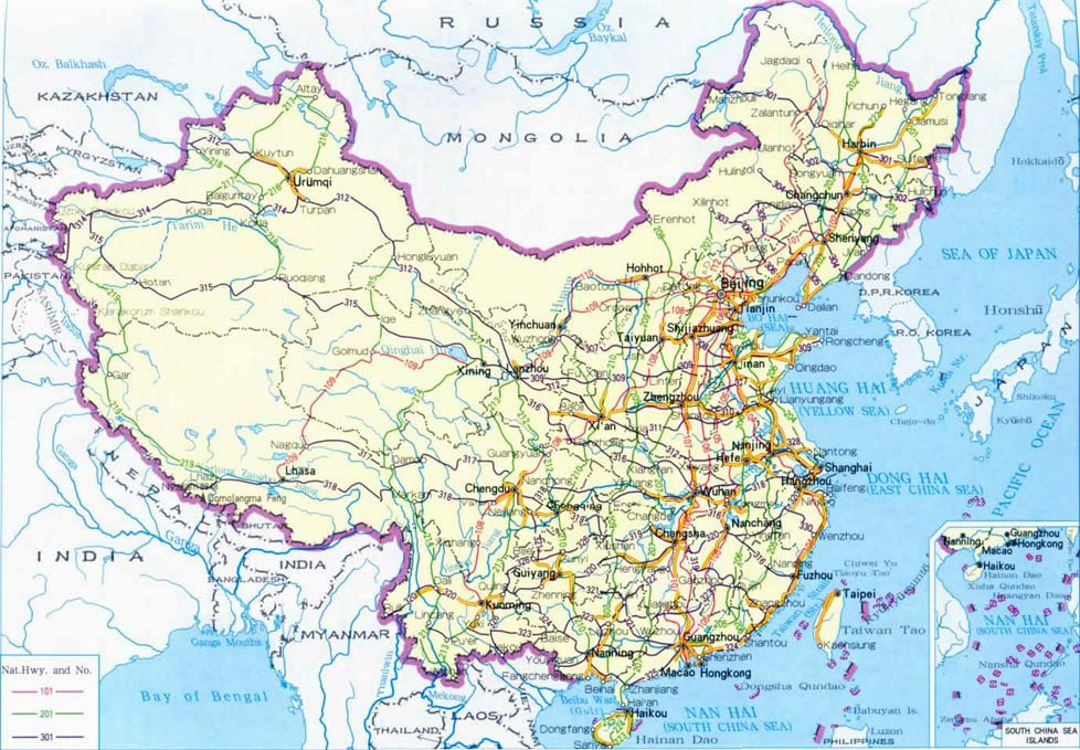 road map of China
