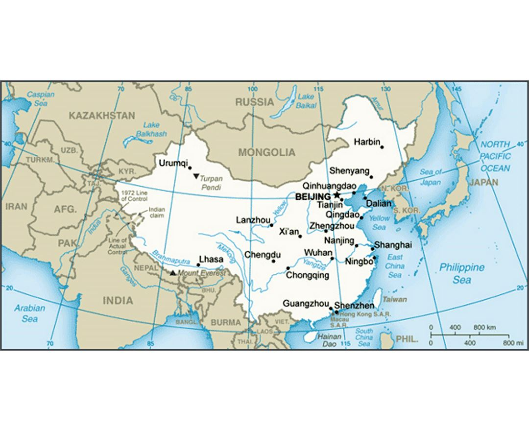 Small map of China
