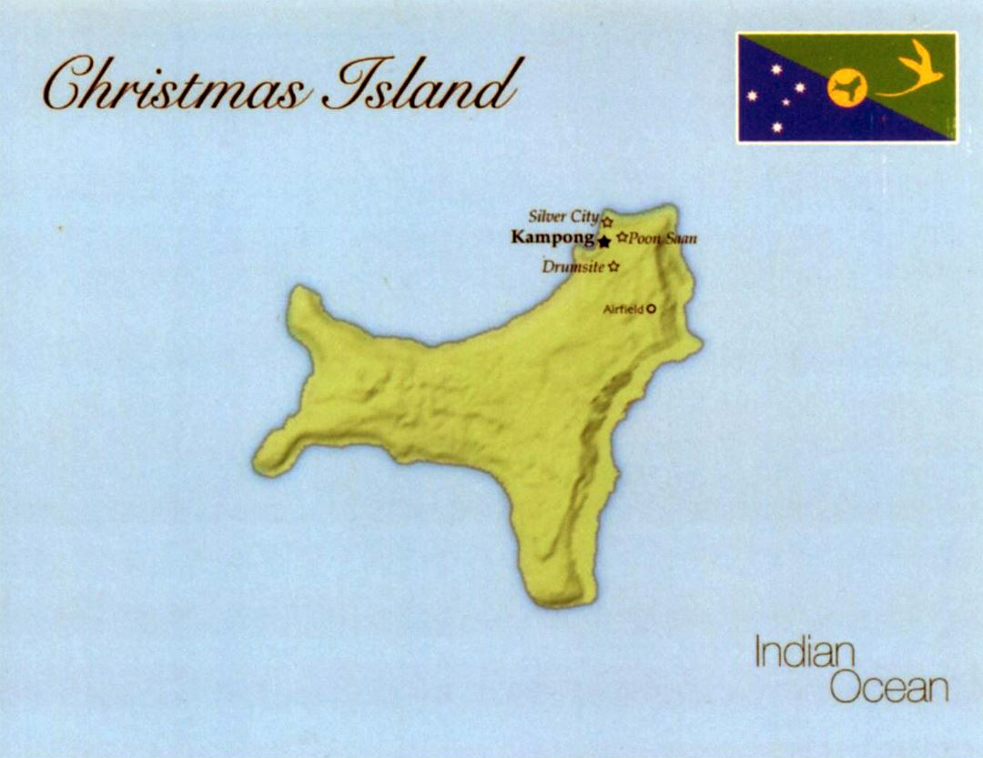 Detailed map of Christmas Island with flag