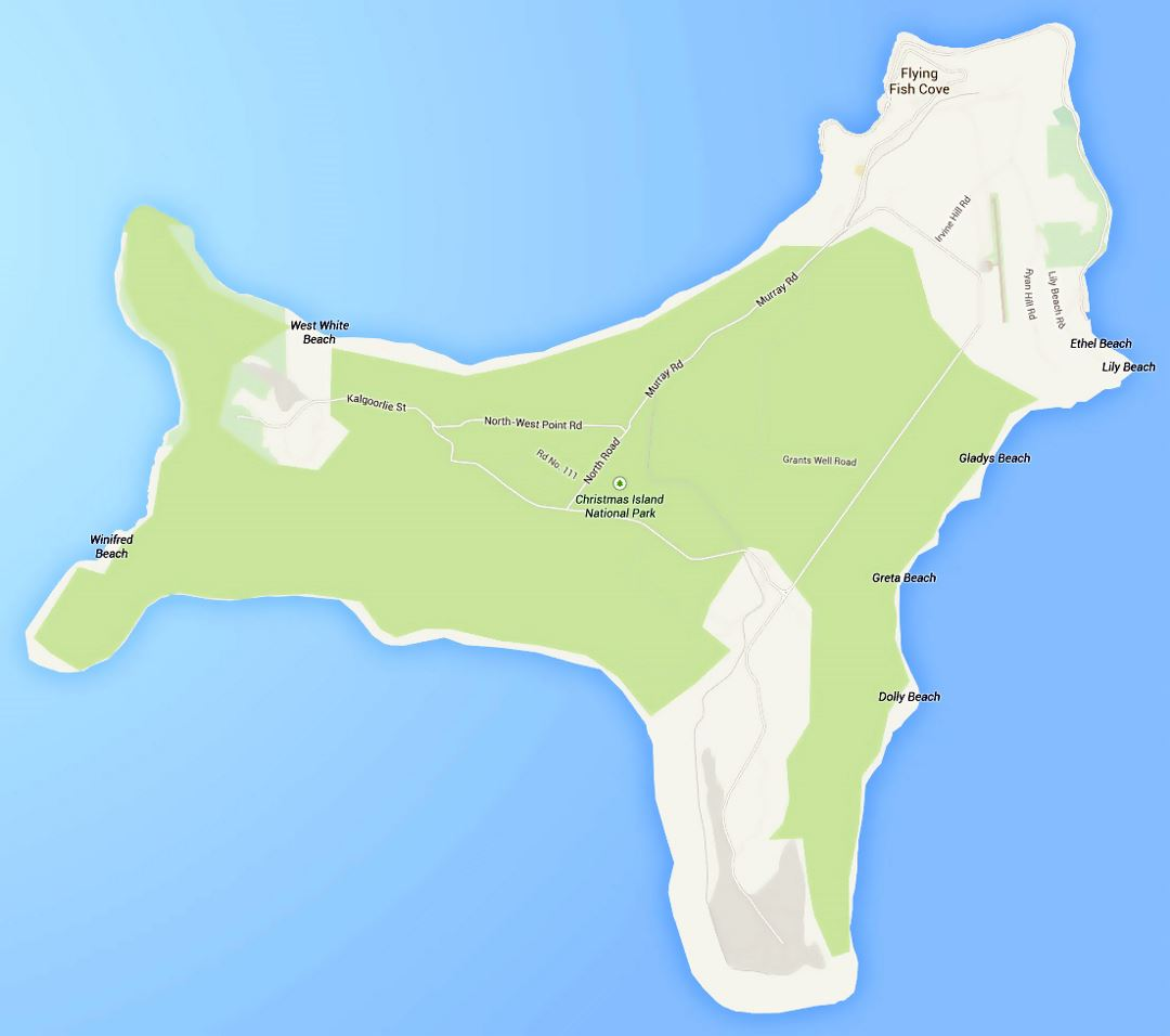 Detailed road map of Christmas Island with all cities