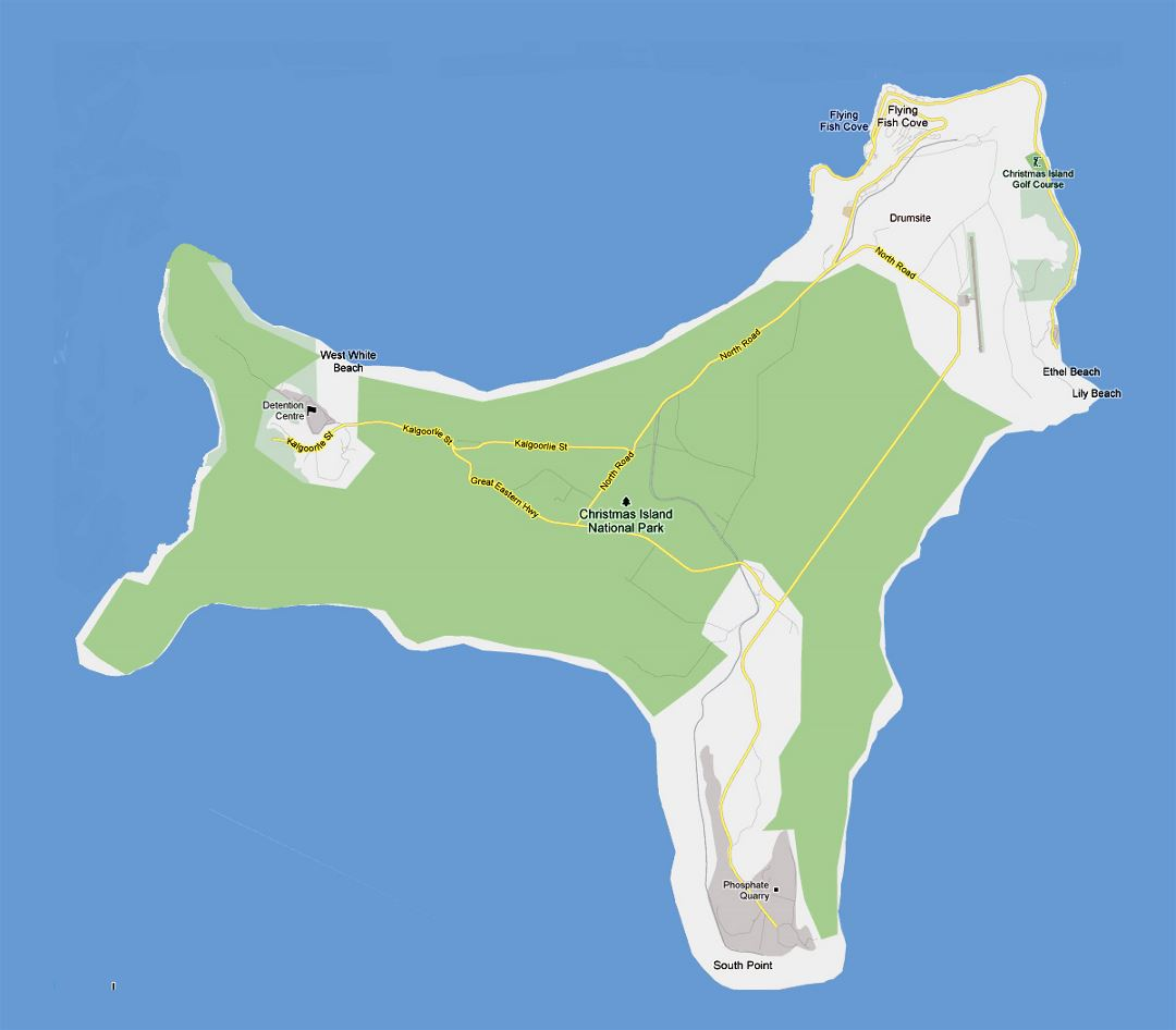 Detailed road map of Christmas Island with cities