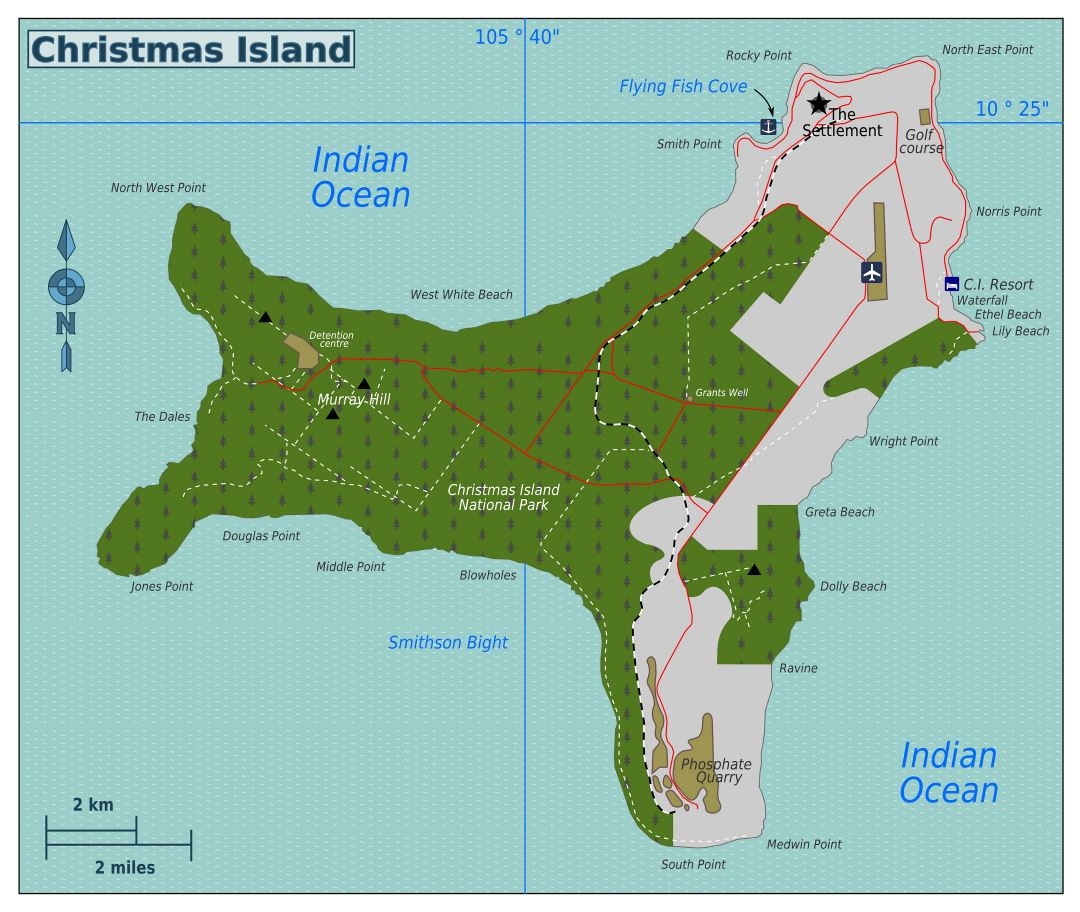 Large detailed map of Christmas Island