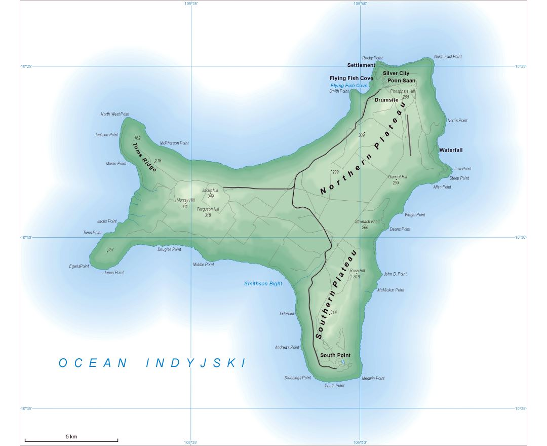 Large detailed map of Christmas Island with all roads and cities