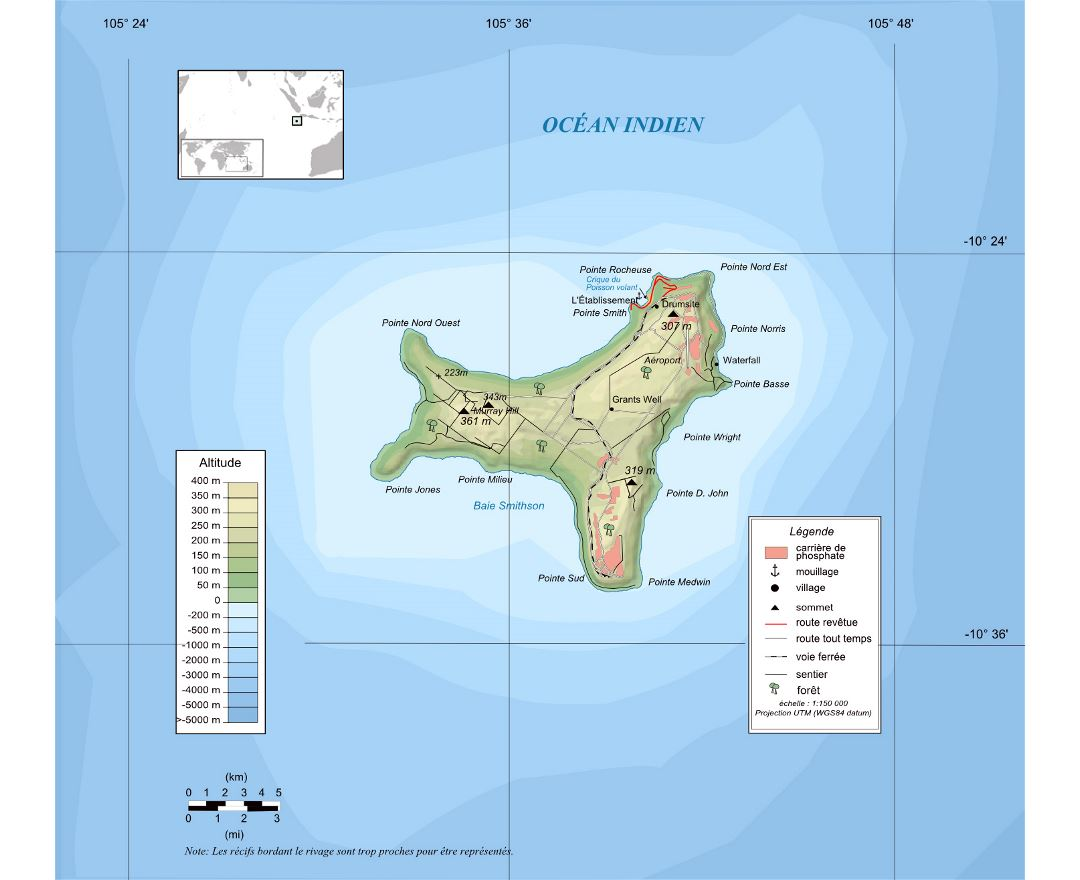 Large detailed physical map of Christmas Island in french language