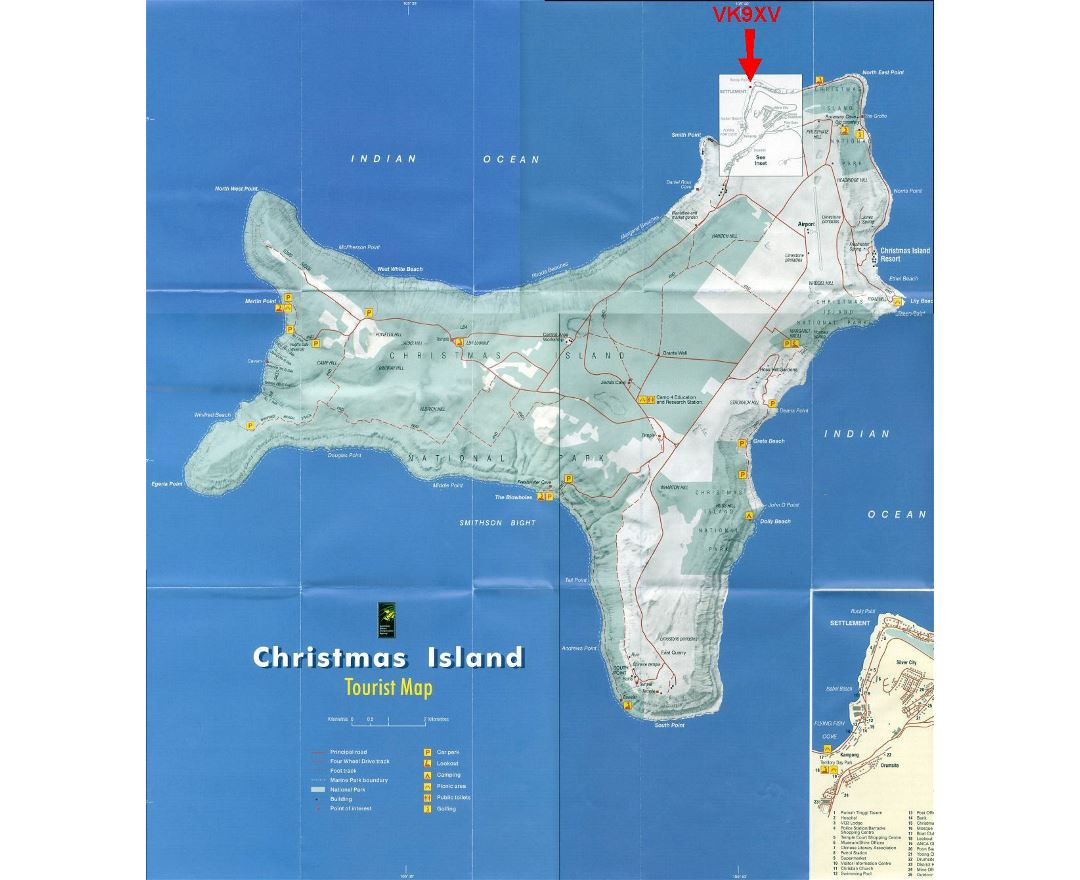 Large tourist map of Christmas Island