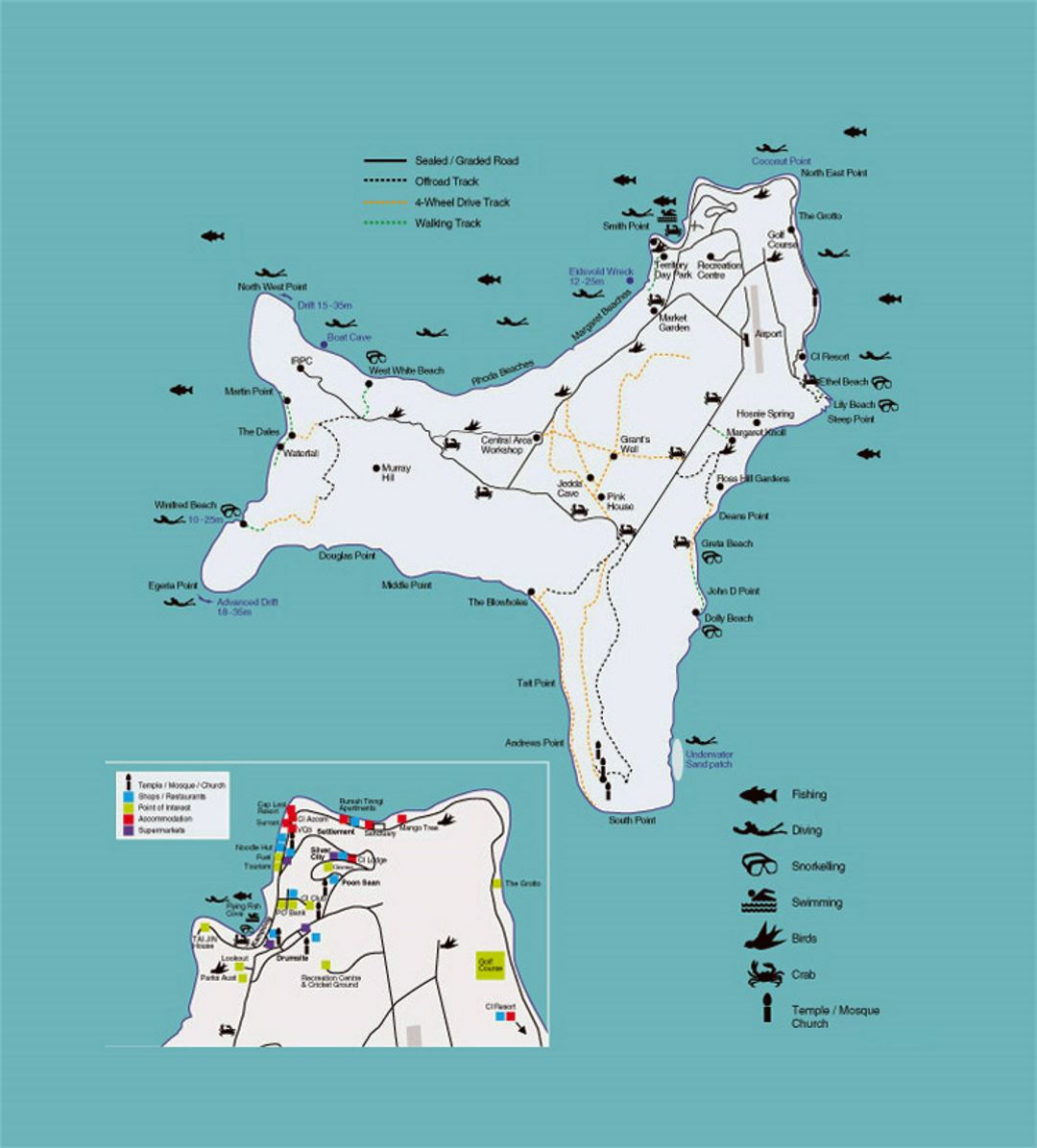 Tourist map of Christmas Island