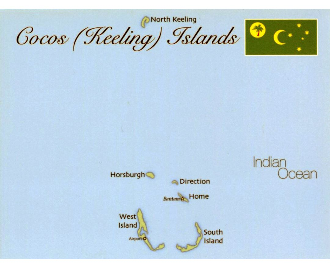 Detailed map of Cocos (Keeling) Islands with flag