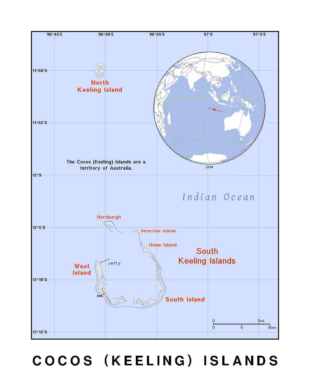 Detailed political map of Cocos (Keeling) Islands