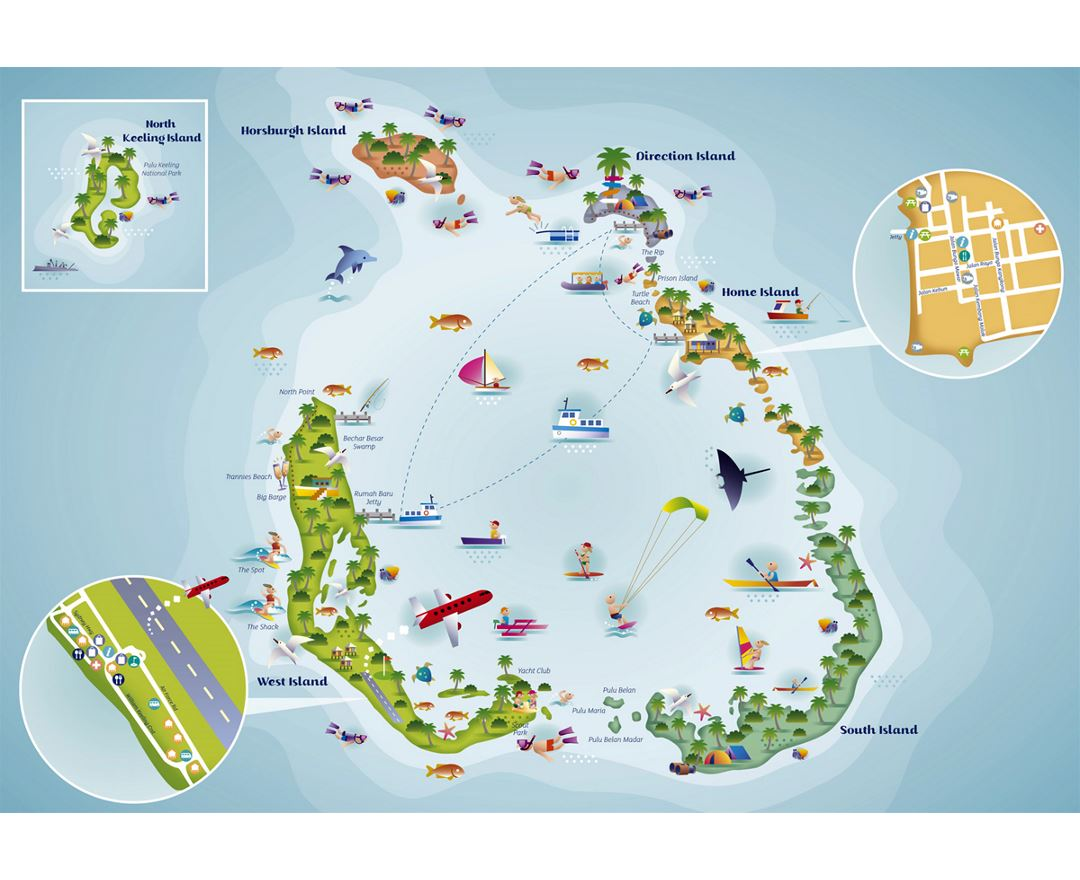 Detailed tourist illustrated map of Cocos (Keeling) Islands