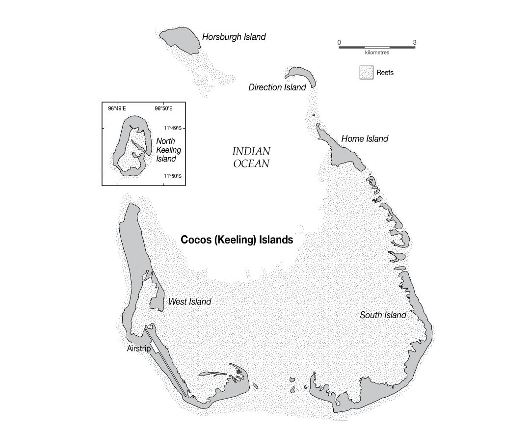 Large detailed map of Cocos (Keeling) Islands