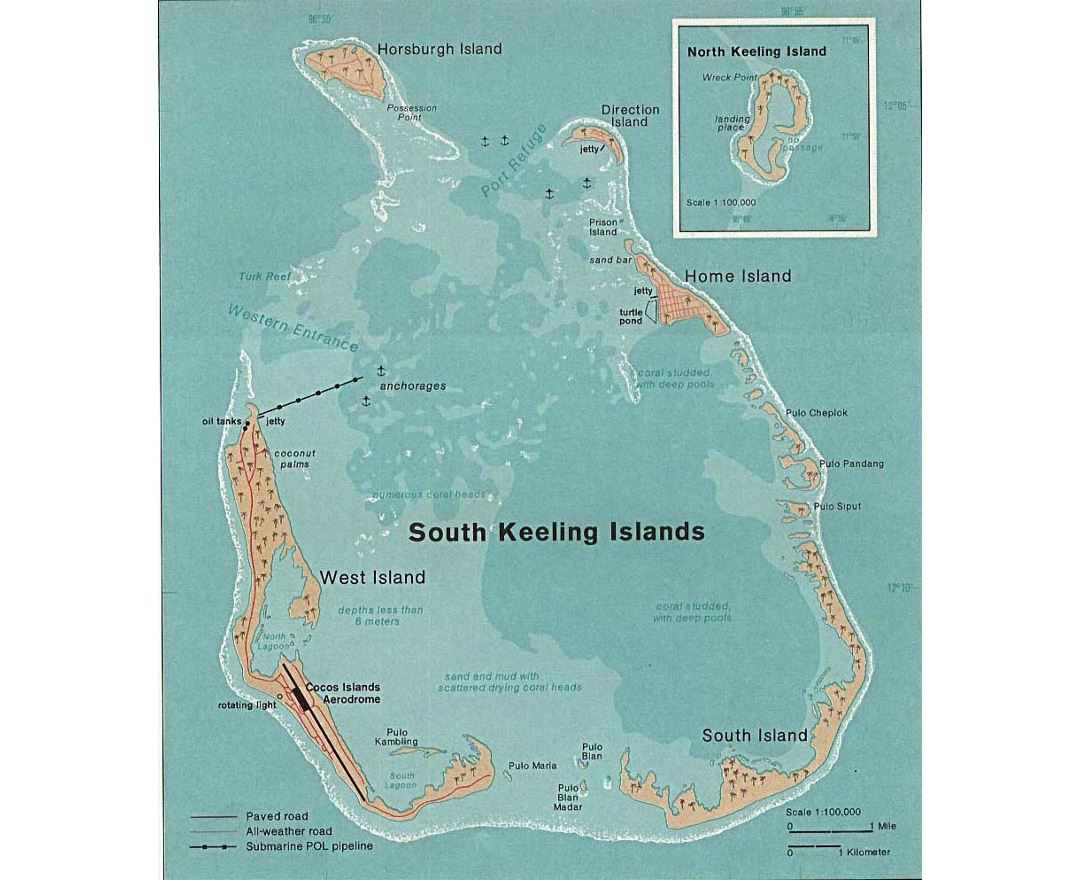 Large detailed map of Cocos (Keeling) Islands with cities and airport - 1976