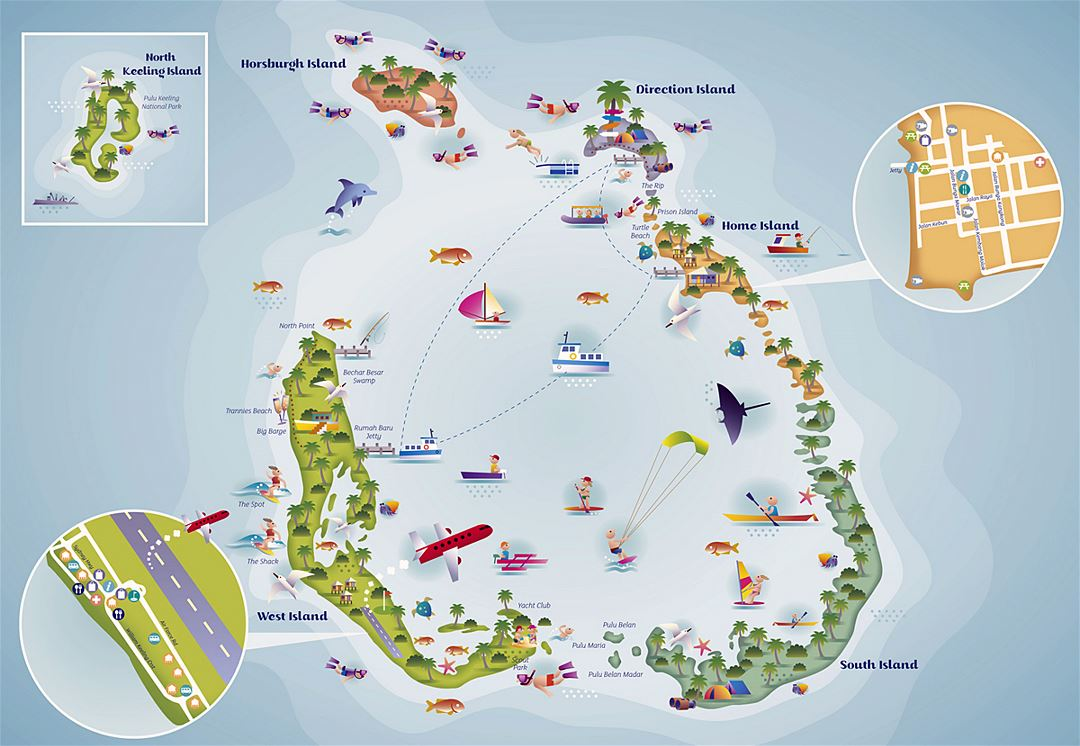 Large detailed tourist illustrated map of Cocos (Keeling) Islands