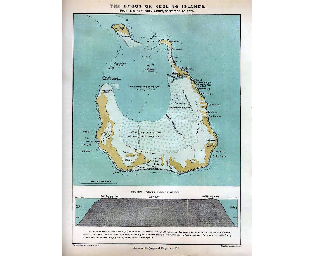 Large old map of Cocos (Keeling) Islands - 1889