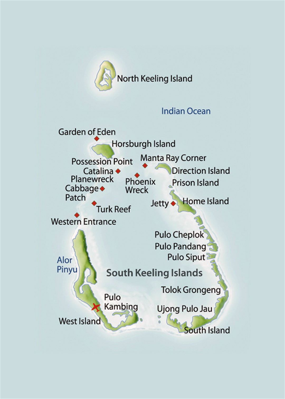 Map of Cocos Islands Cocos Keeling Islands Asia Mapsland