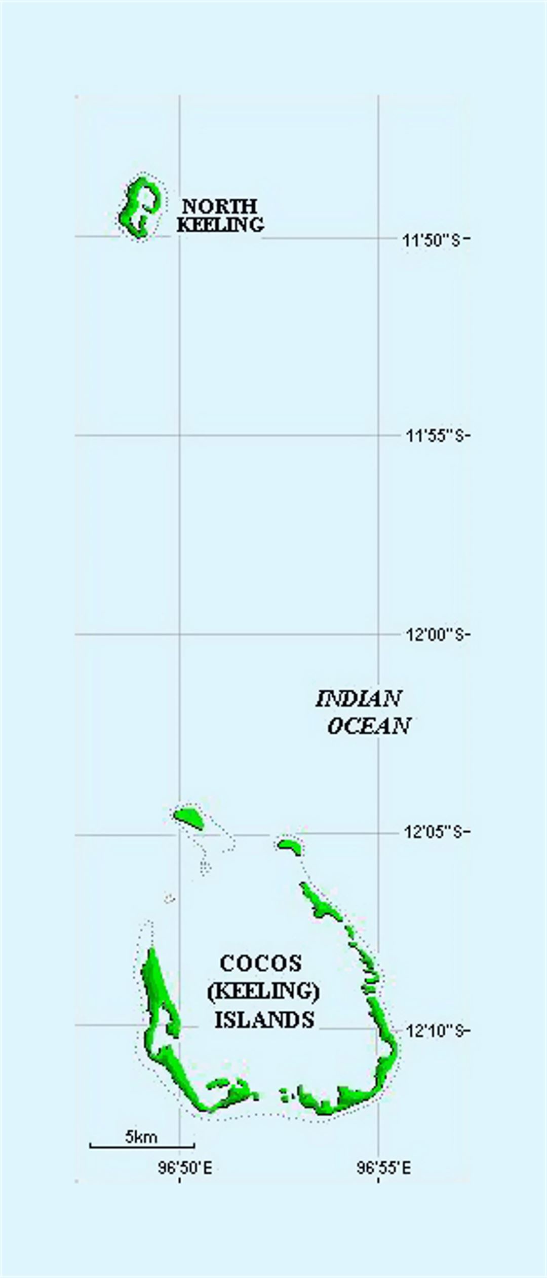 Small map of Cocos Islands