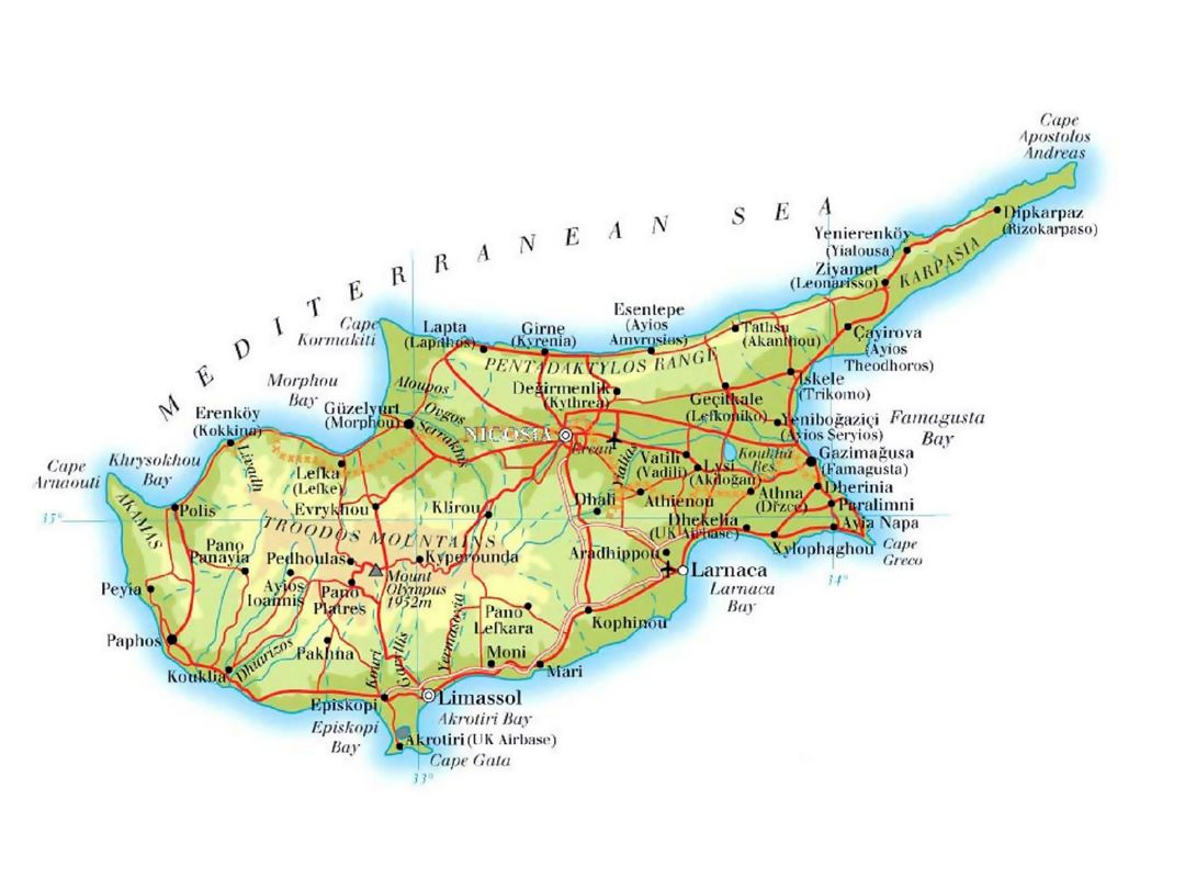Detailed elevation map of Cyprus with roads, cities and airports