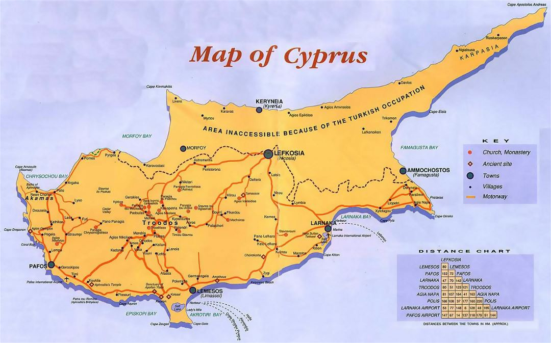 Detailed guide map of Cyprus