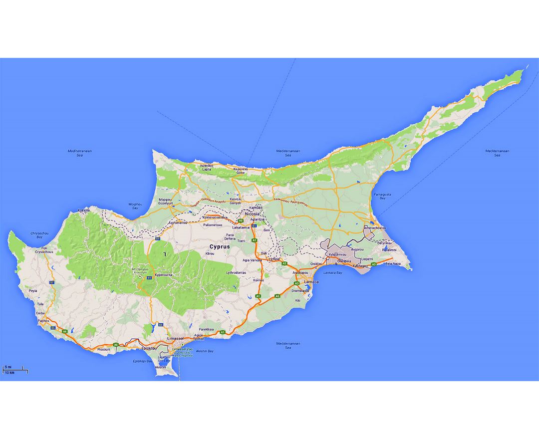 Maps of cyprus detailed map of cyprus in english tourist map detailed road map of cyprus with relief gumiabroncs Choice Image