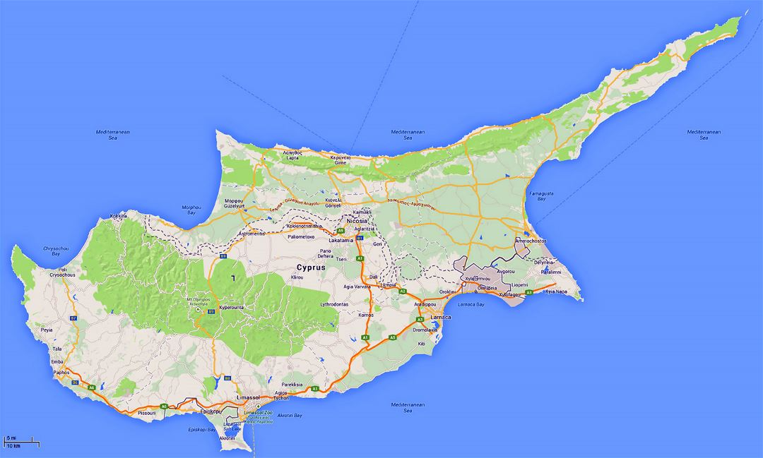 Detailed road map of Cyprus with relief