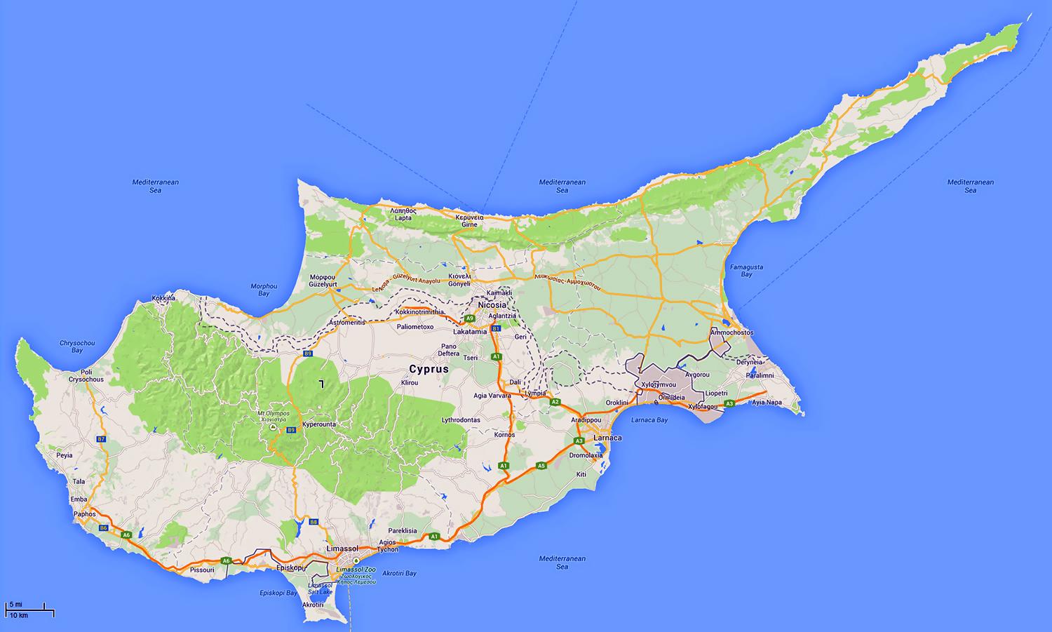 Detailed road map of Cyprus with relief Cyprus Asia Mapsland
