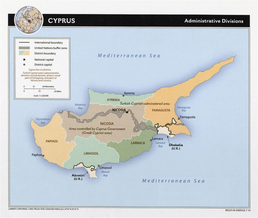 Large administrative divisions map of Cyprus - 2010