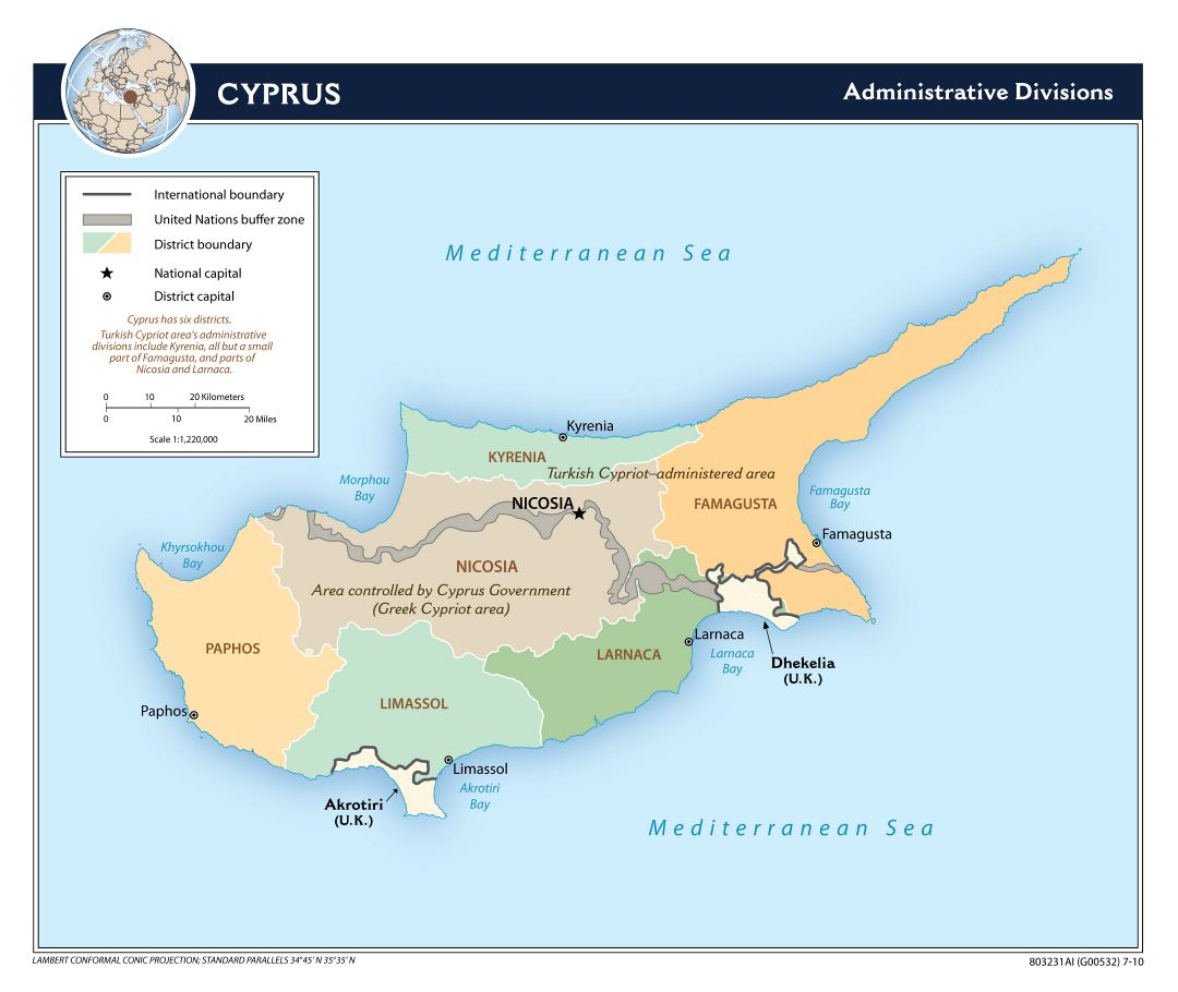 Large detailed administrative divisions map of Cyprus - 2010