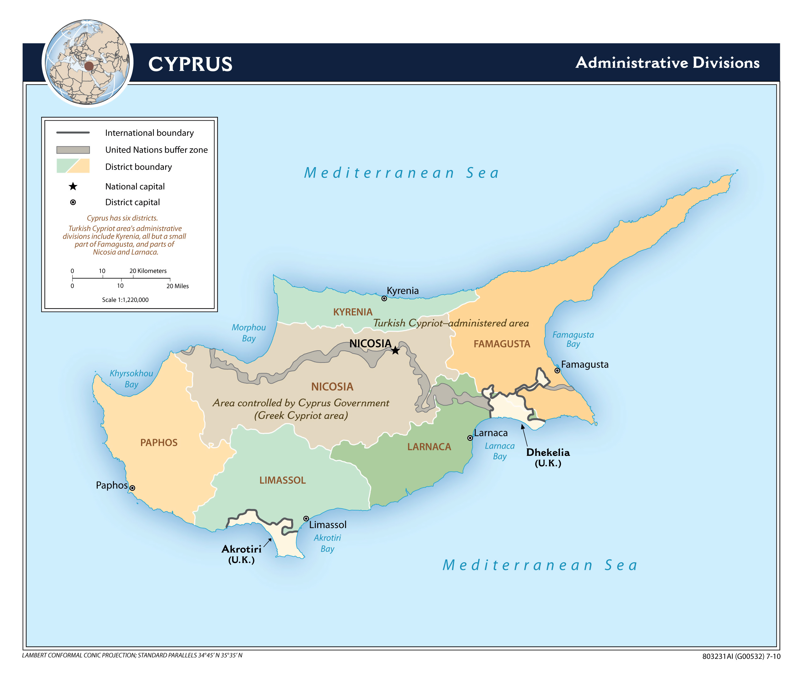 Large detailed administrative divisions map of Cyprus 2010