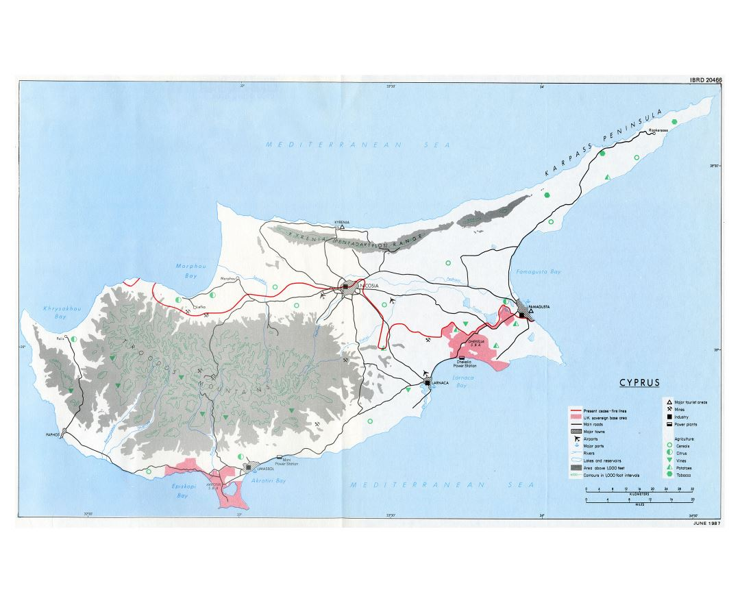 Maps of Cyprus Detailed map of Cyprus in English Tourist map