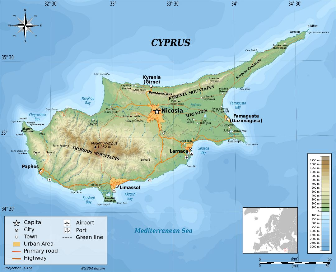 Large detailed physical map of Cyprus