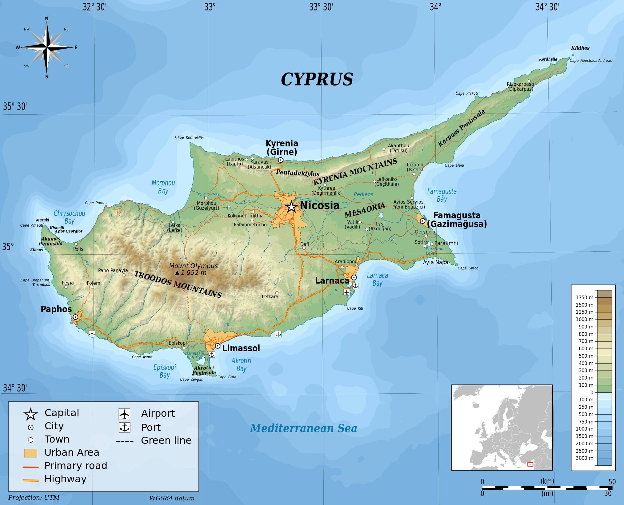 Large detailed physical map of cyprus cyprus asia mapsland large detailed physical map of cyprus gumiabroncs Image collections