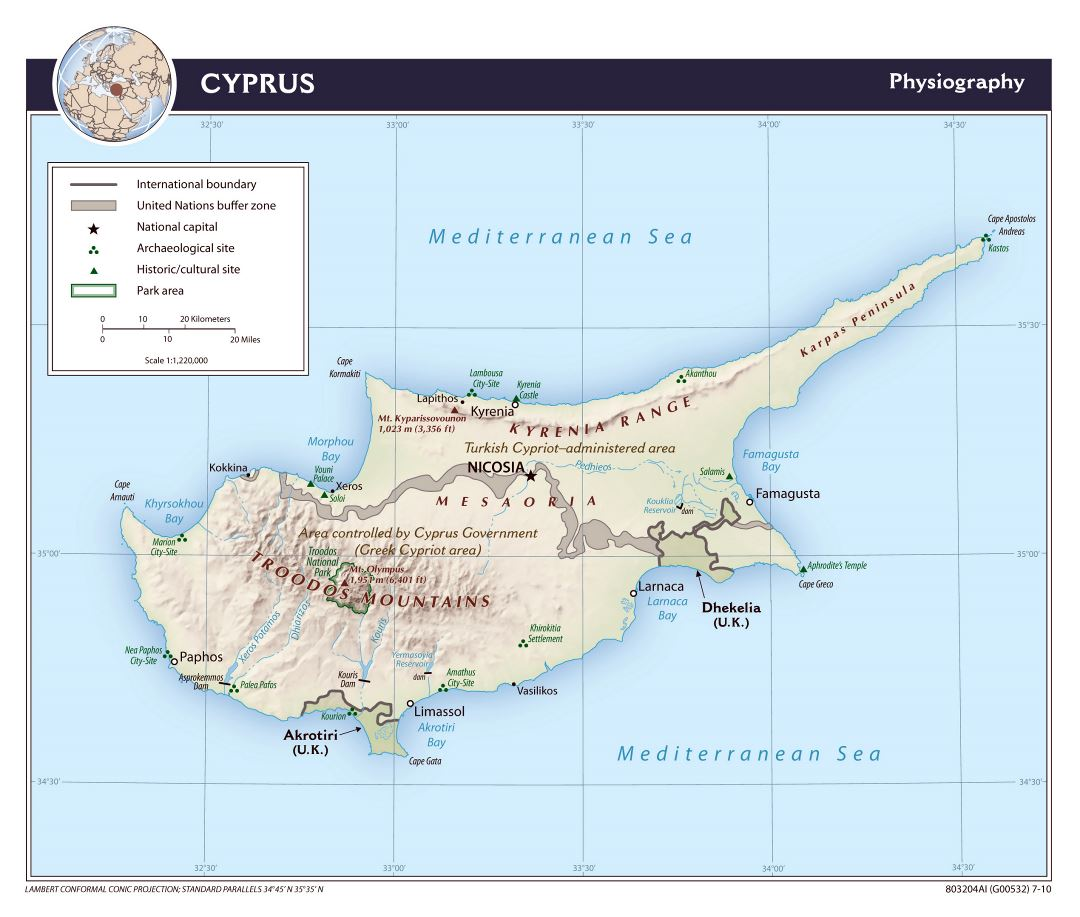 Large detailed physiography map of Cyprus - 2010