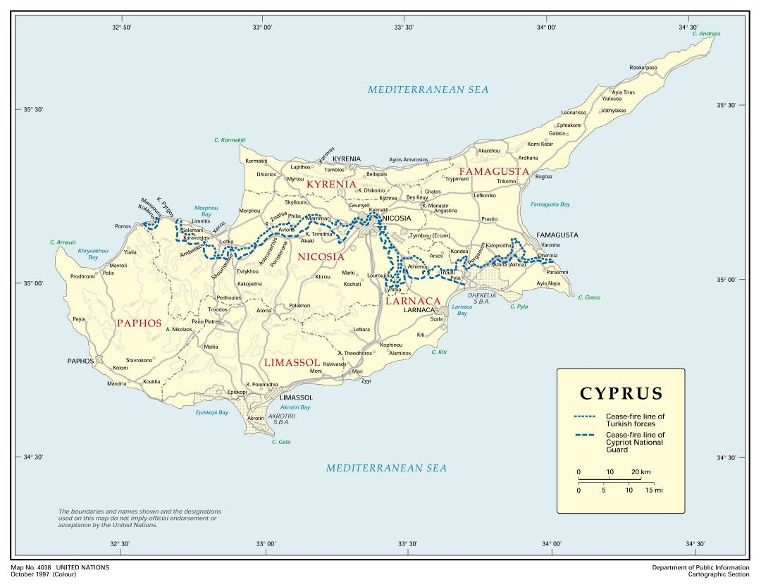 Large detailed political and administrative map of Cyprus