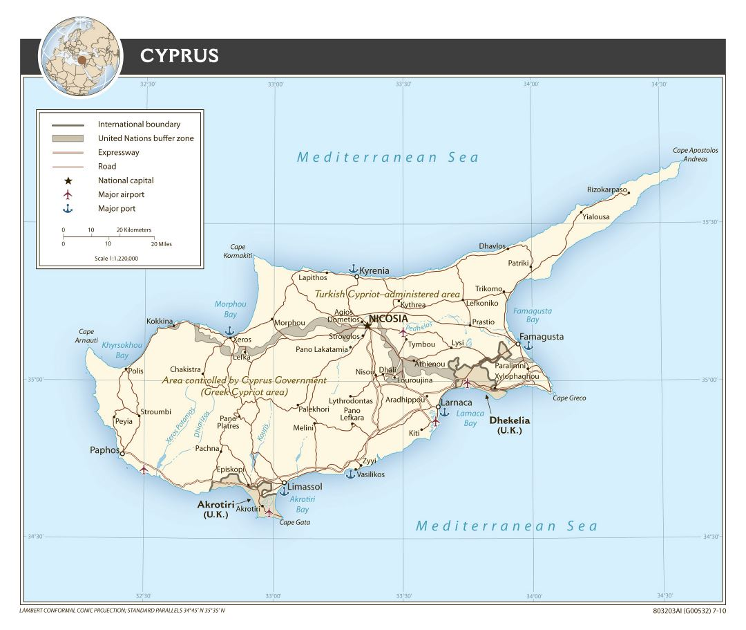 Large detailed political map of Cyprus with roads, major cities, sea ports and airports - 2010