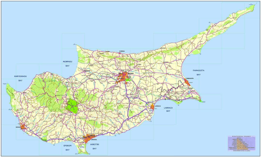 Large detailed road map of Cyprus with cities