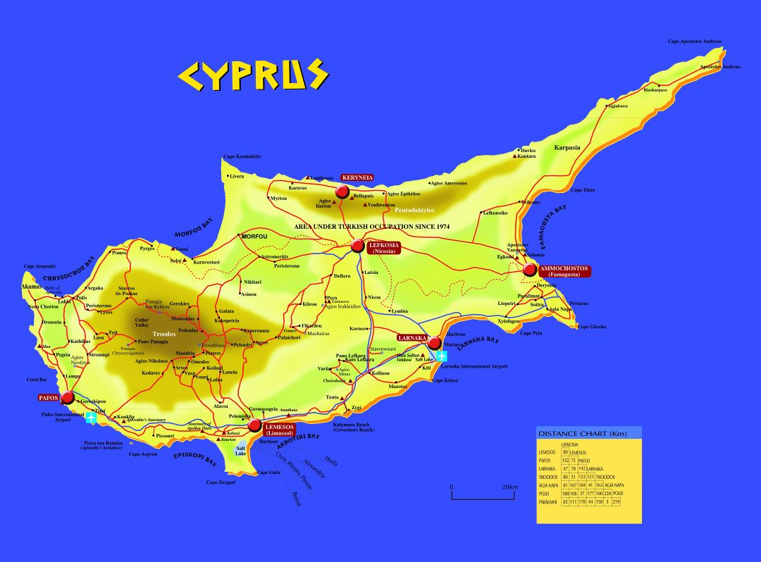 Large detailed travel road map of Cyprus