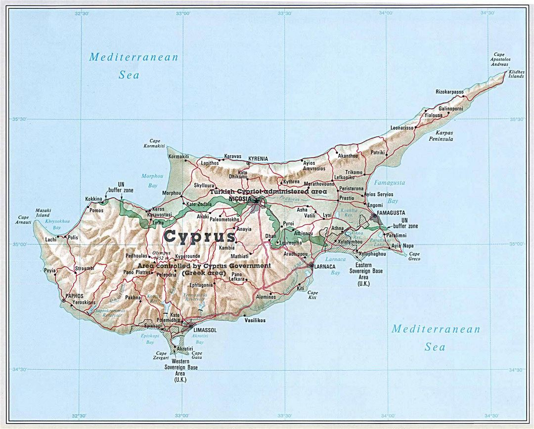 Large general map of Cyprus