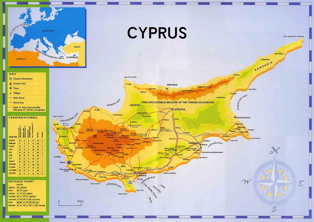Large map of Cyprus