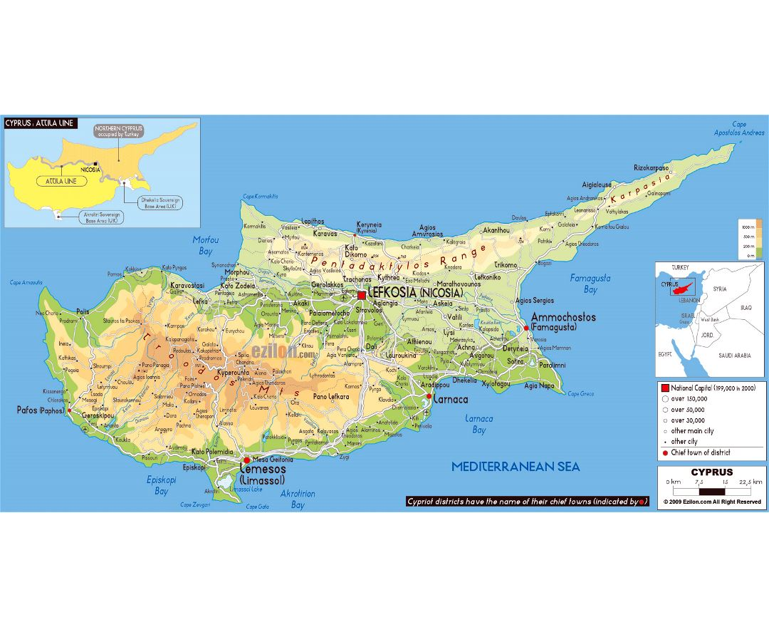 Maps of cyprus detailed map of cyprus in english tourist map large physical map of cyprus with roads cities and airports gumiabroncs Image collections