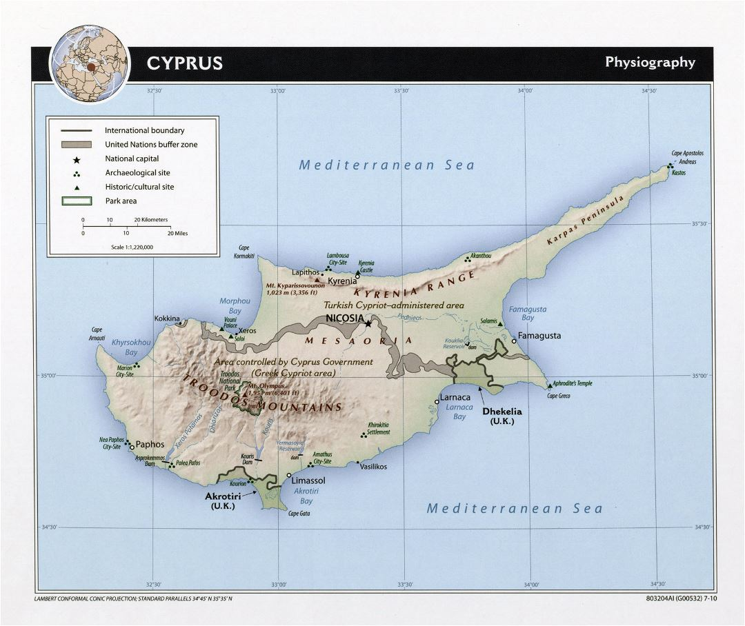 Large physiography map of Cyprus - 2010