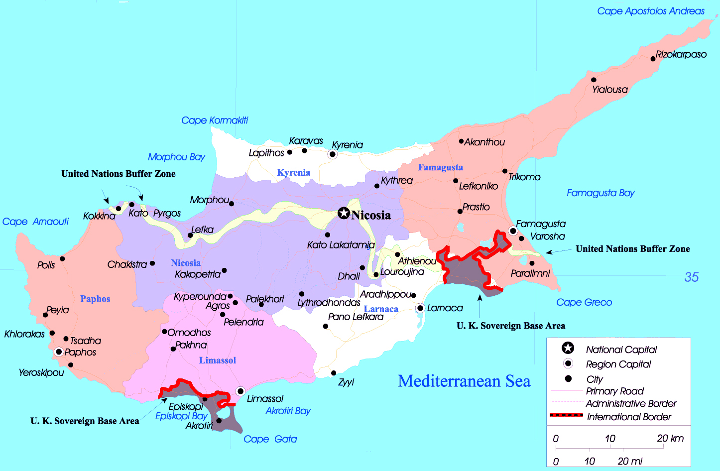Large political and administrative map of Cyprus with major cities
