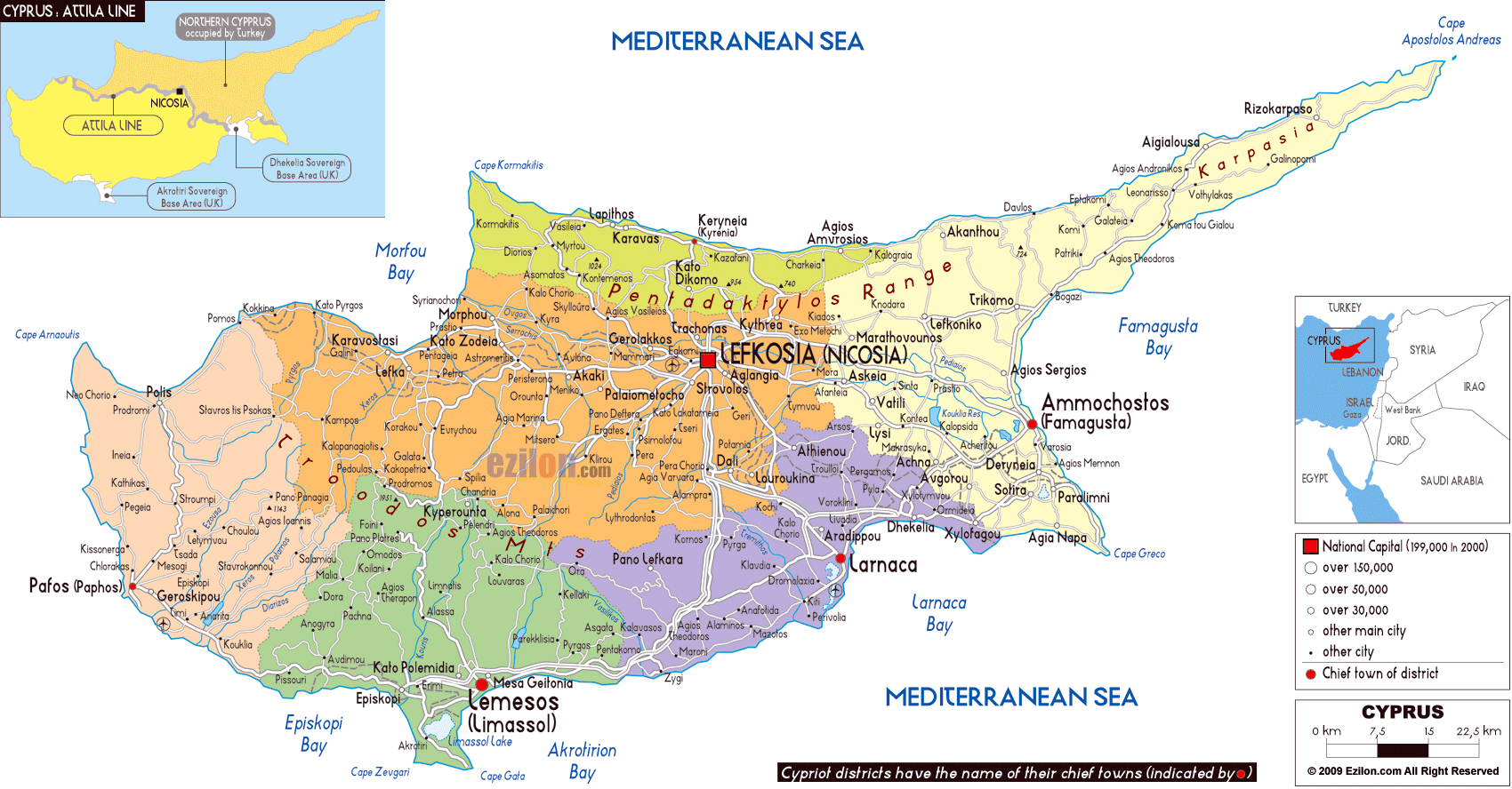 Large Political And Administrative Map Of Cyprus With Roads - Cyprus map with airports