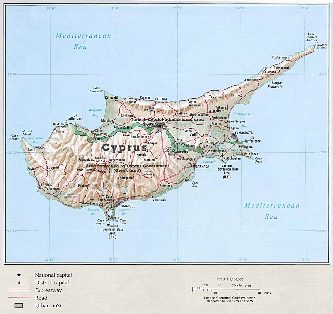 Large political map of Cyprus with relief, roads and cities
