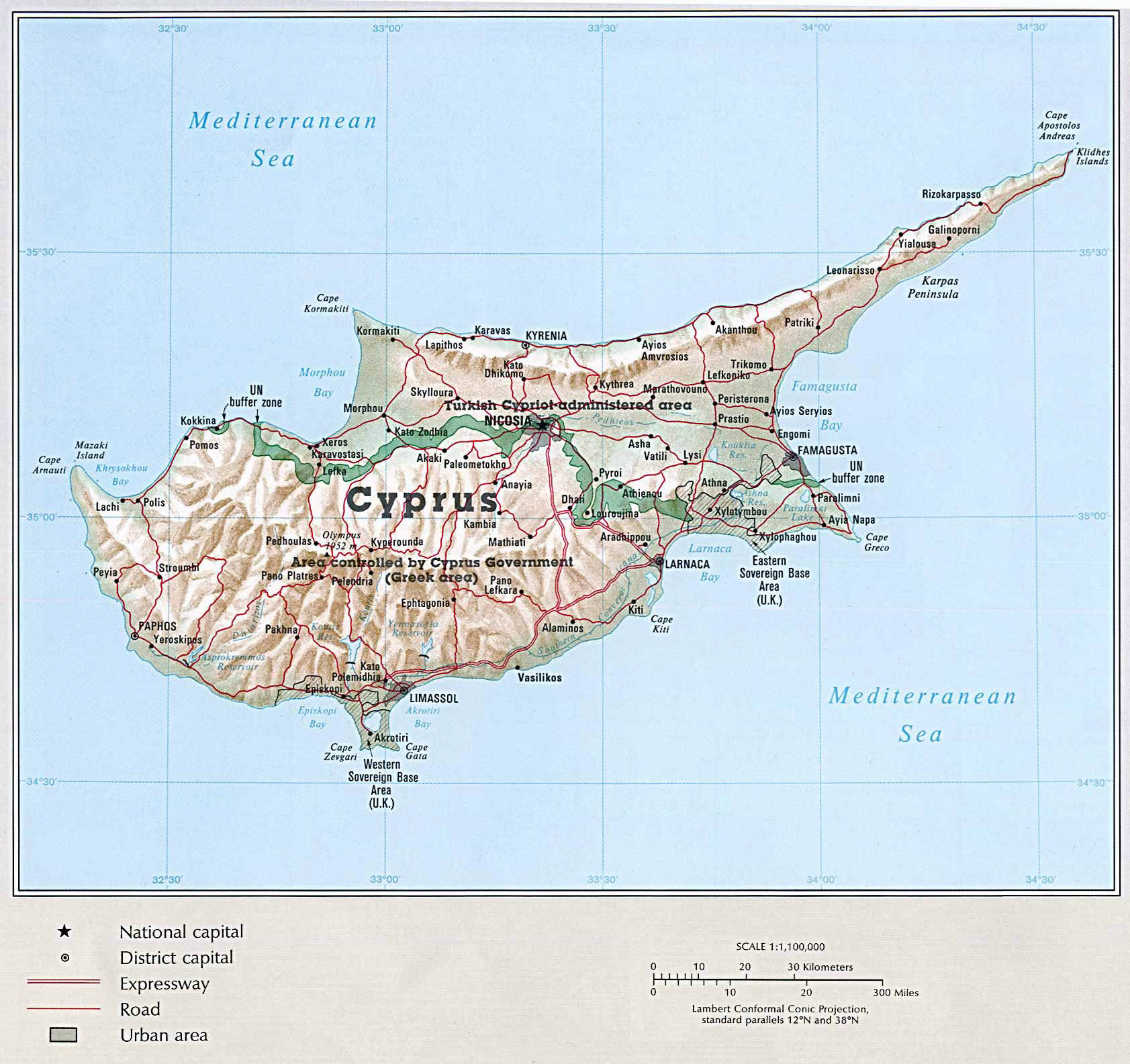 Large political map of Cyprus with relief roads and cities Cyprus