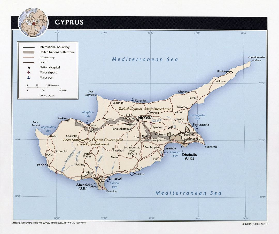 Large political map of Cyprus with roads, major cities, sea ports and airports - 2010