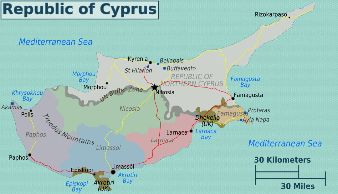 Large regions map of Cyprus