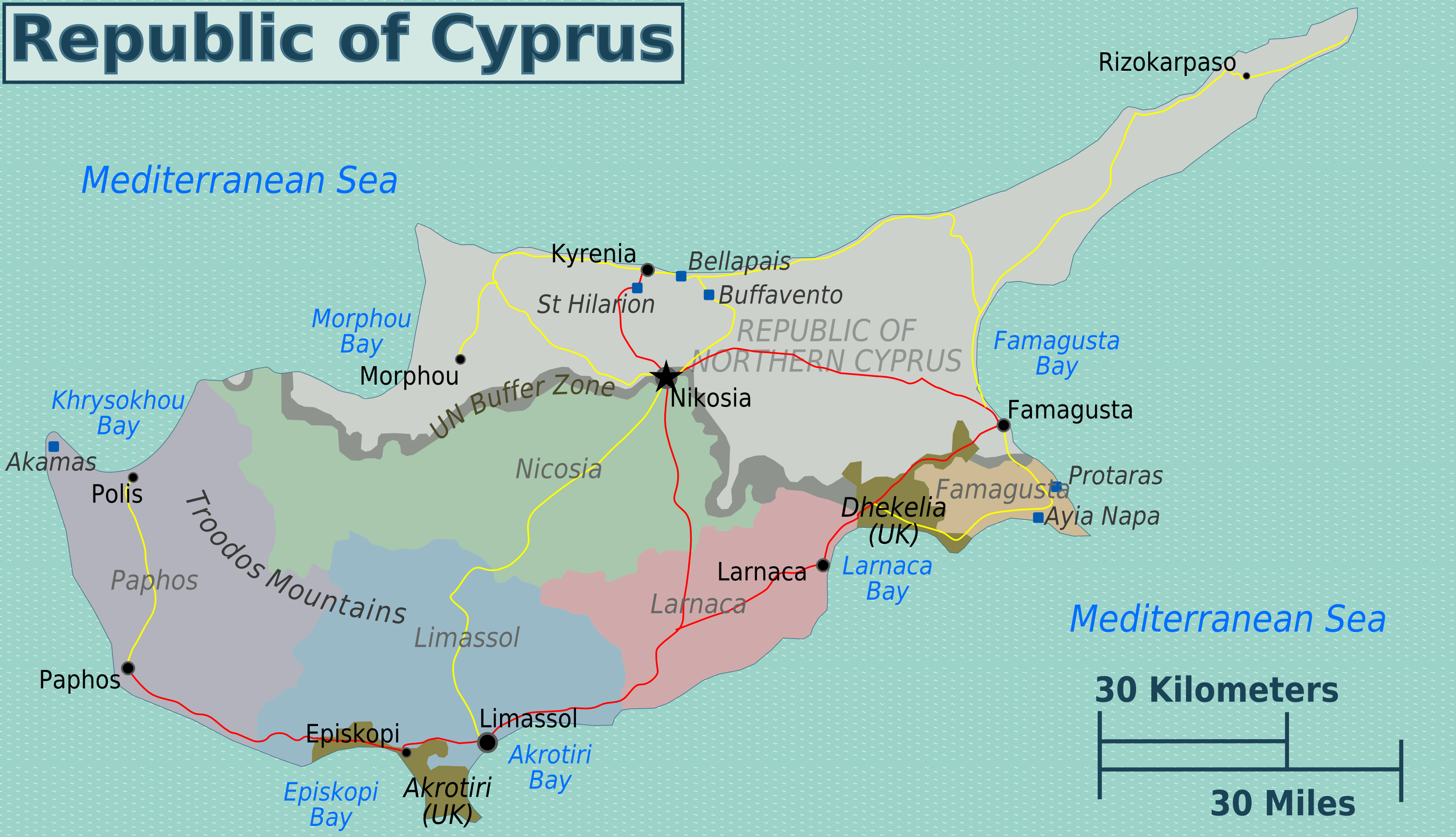 Large regions map of cyprus cyprus asia mapsland maps of the large regions map of cyprus gumiabroncs Choice Image